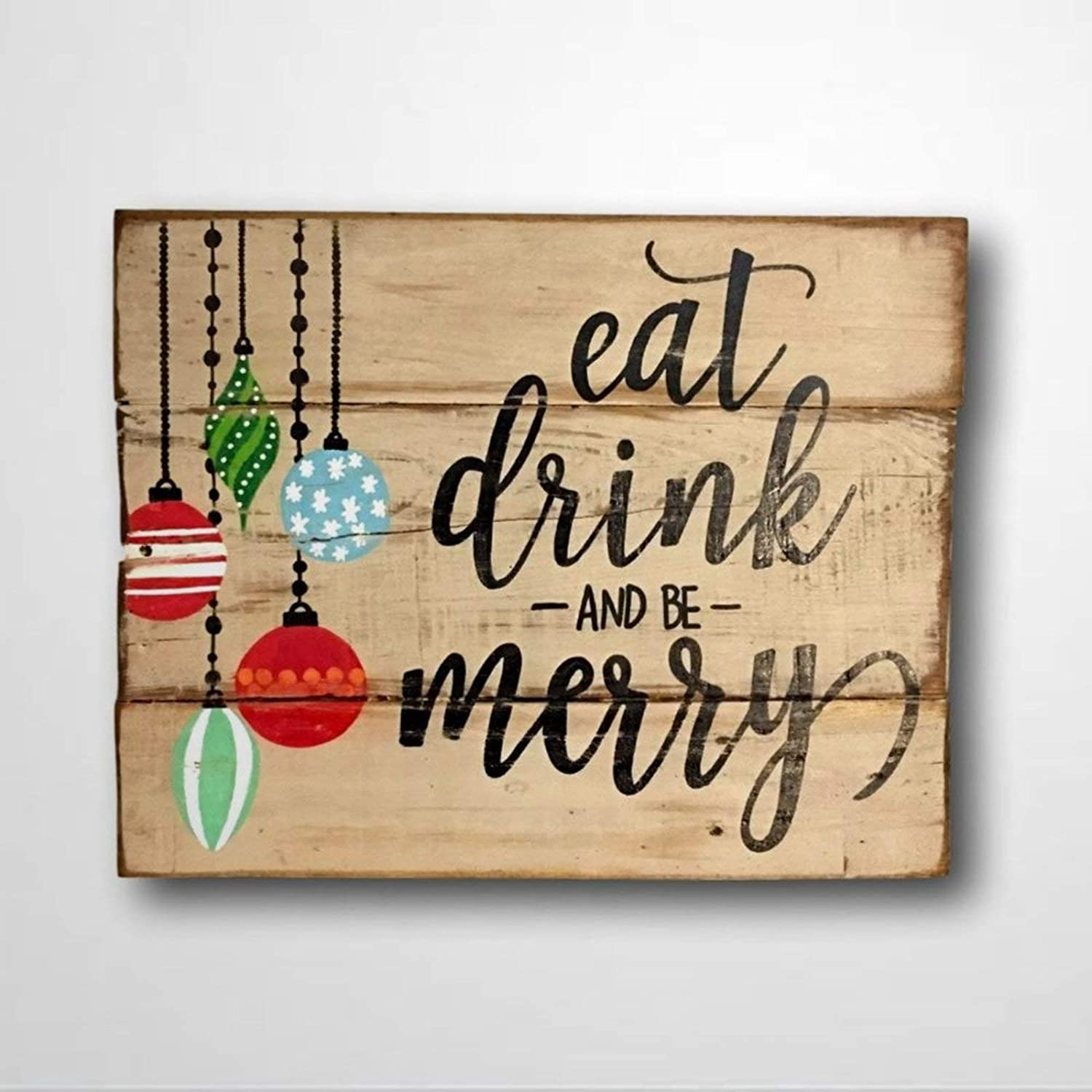 DONL9BAUER Wood Sign Eat Drink and Be Merry Wall Hanging Christmas Decor Rustic Funny Mantel Vintage Sign Home Decor Indoor Outdoor