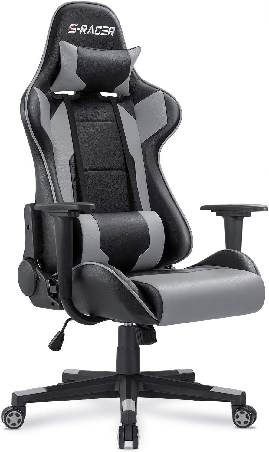 Homall Gaming Chair Office Chair High Back Computer Chair PU Leather Desk Chair PC Racing Executive Ergonomic Adjustable Swivel Task Chair with Headrest and Lumbar Support (Gray)