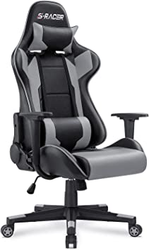 Black Gaming Chair Racing Computer Game Chair with Footrest Ergonomic Desk Chair Executive Swivel Chair Adjustable Task Office Chair