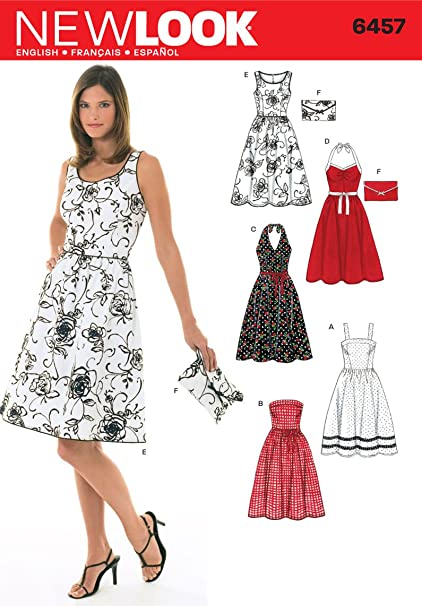 d00575755a7c Amazon.com: New Look Sewing Pattern 6457 Misses Dresses, Size A  (6-8-10-12-14-16): Arts, Crafts & Sewing