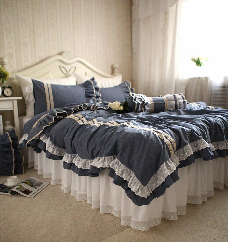 SIBAIER 「海の宝石」 綿100% 刺繍模様 ラッフルフリル ホワイトのベッドスカート 紺碧のベースにベージュのレース ベッドカバーセット(ベッドカバー ベッドスカート 枕カバー) (シングル 三点セット) B01M8OUE8R  シングル 三点セット