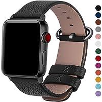 Fullmosa Compatible Apple Watch Band 44mm 42mm 40mm 38mm,Genuine Leather Band Compatible iWatch Band, 44mm 42mm Black + Gunmetal Buckle