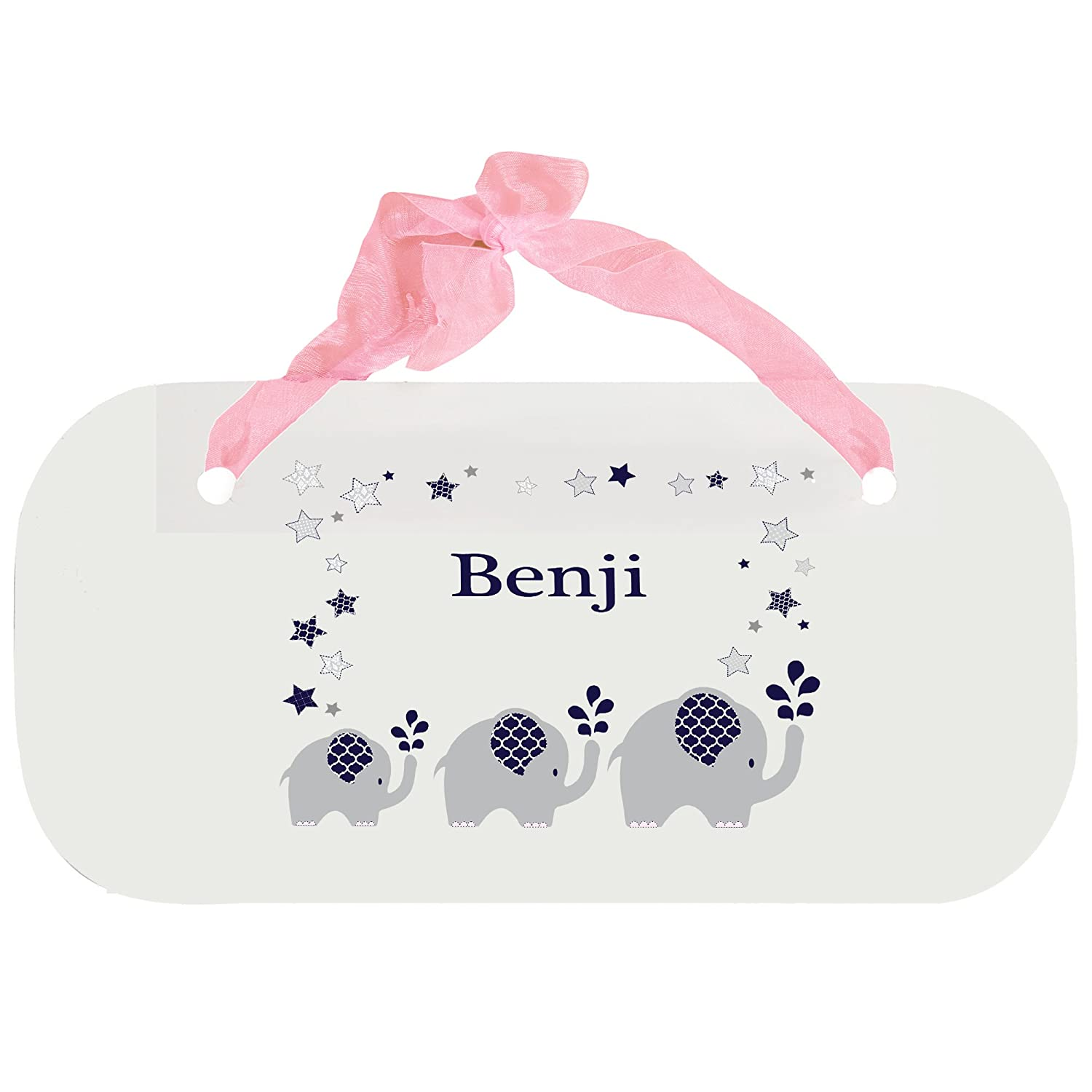 Personalized Navy Elephant Nursery Door Hanger Plaque with pink ribbon MyBambino