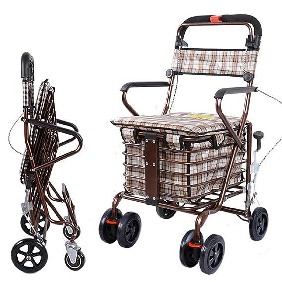 Ligero plegable de cuatro rueda andador rollator con asiento ...