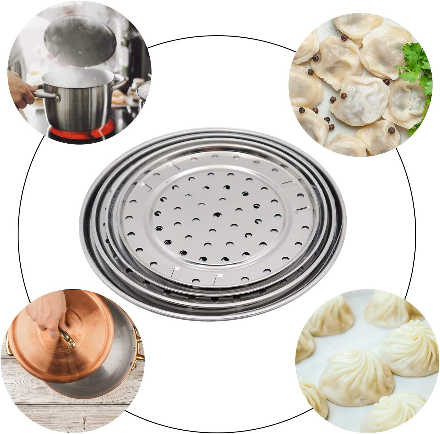 4 Pack Steamer Rack Metal Steaming Rack Tray Stand Steamer Basket Pots Steaming Stand Round Stainless Steel Steam Rack Pressure Cooker Steaming Steamer Rack for Home Kitchen Cooking 20//22//24//26cm