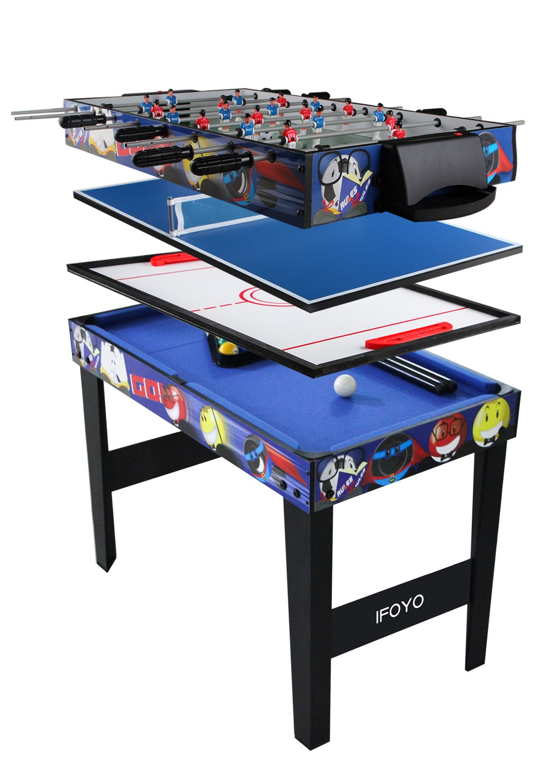 Vocheer 4 in 1 Multi Combo Game Table, Hockey Table, Foosball Table with Soccer, Pool Table, Table Tennis Table for Home, Game Room by Vocheer