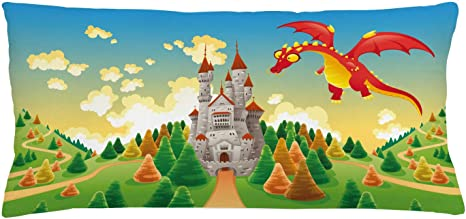 """Amazon.com: Lunarable Fantasy Throw Pillow Cushion Cover, Panorama Medieval  Castle and Dragon Myth Theme Landscape, Decorative Rectangle Accent Pillow  Case, 36"""" X 16"""", Multicolor: Home & Kitchen"""