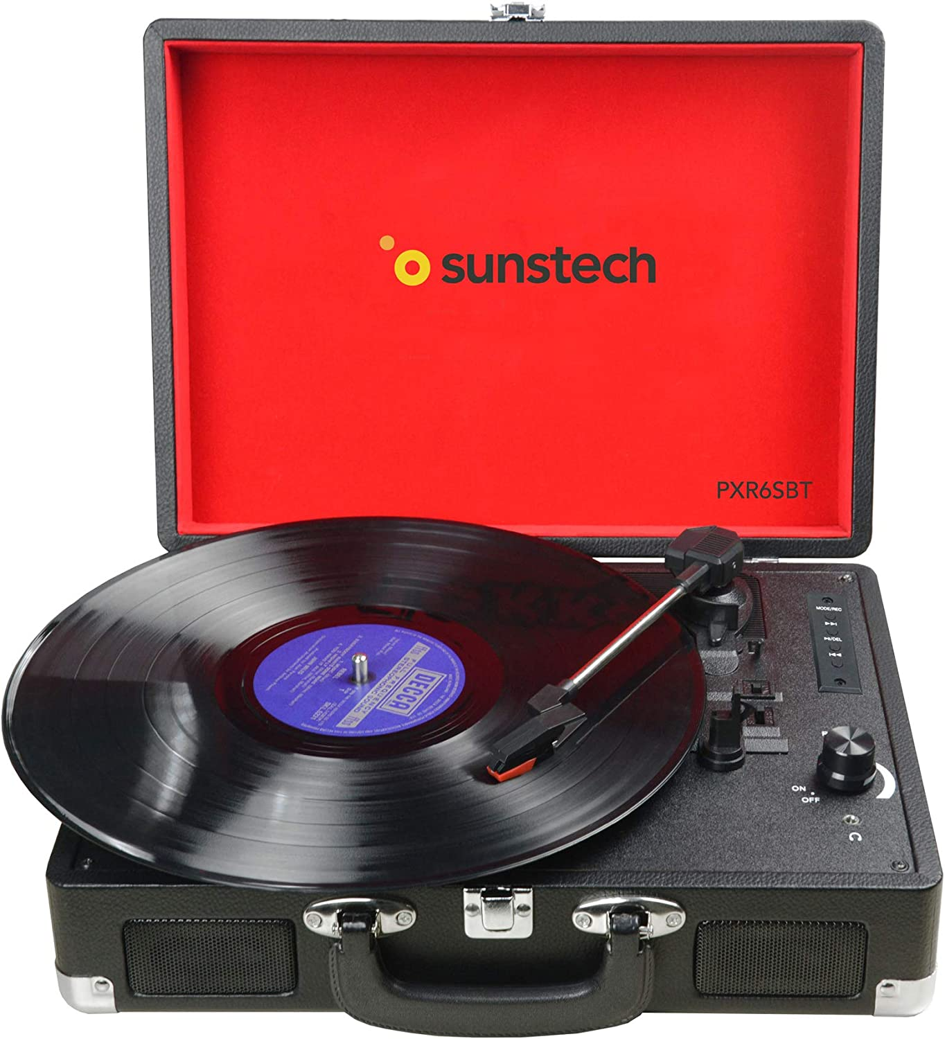 Sunstech PXR6SBTBK - Giradiscos portátil (Bluetooth, USB, MP3) 33/45/78 RPM, Maleta Portátil con 2 Altavoces Integrados, Grabador de Vinilo a MP3, USB Reproductor MP3, Entrada AUX y RCA, Negro.