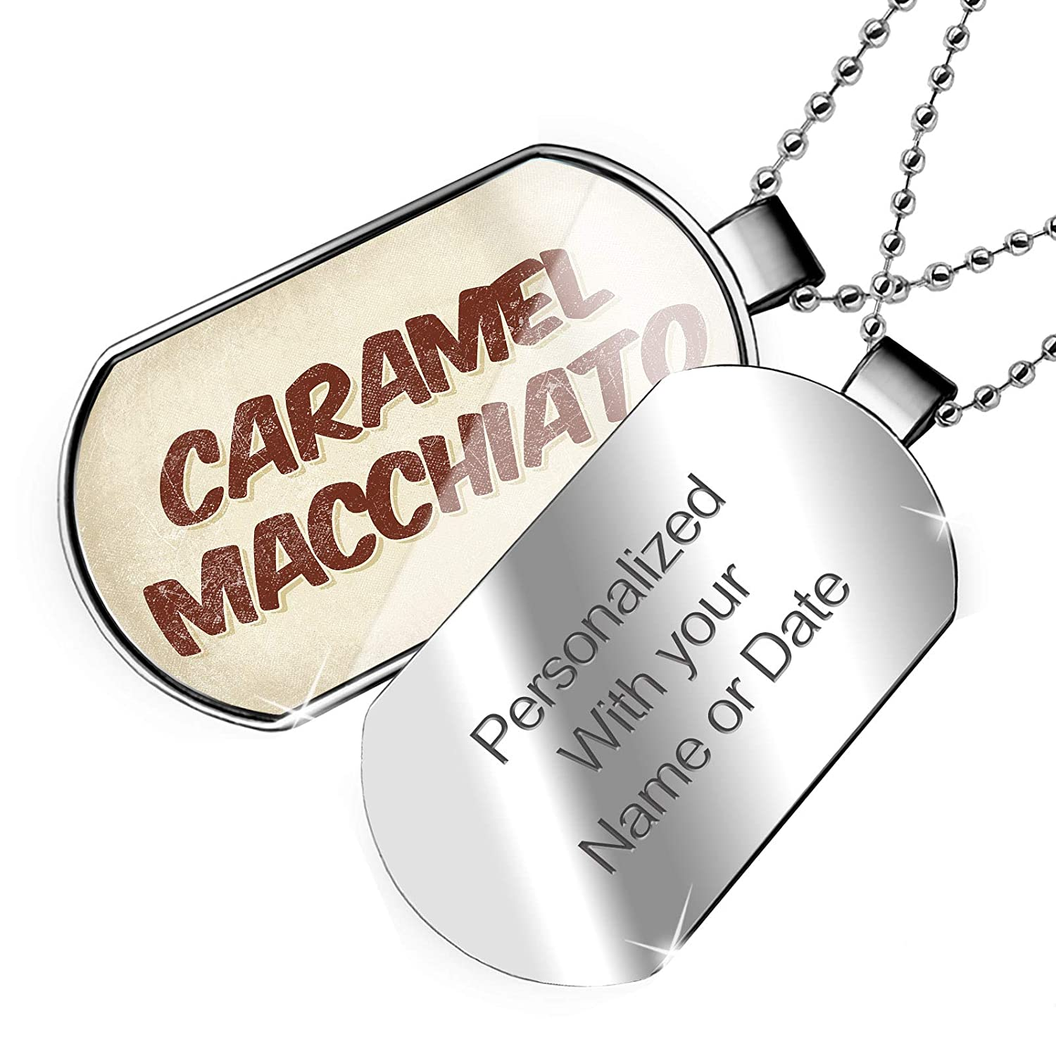 NEONBLOND Personalized Name Engraved Caramel Macchiato Coffee Vintage Style Dogtag Necklace