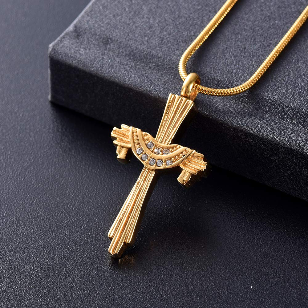 Yinplsmemory Crystal Cross Urn Necklace for Ashes Keepsake Memorial Jewelry for Women Stainless Steel Keepsake Urn Cremation Jewelry