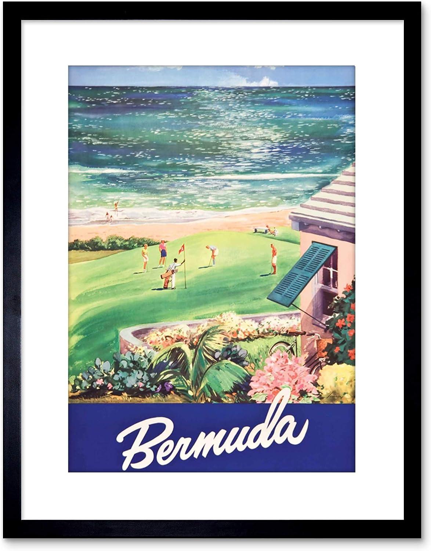 Amazon Com The Art Stop Travel Ad Bermuda Beach Golf Sea Framed Print F97x2538 Furniture Decor