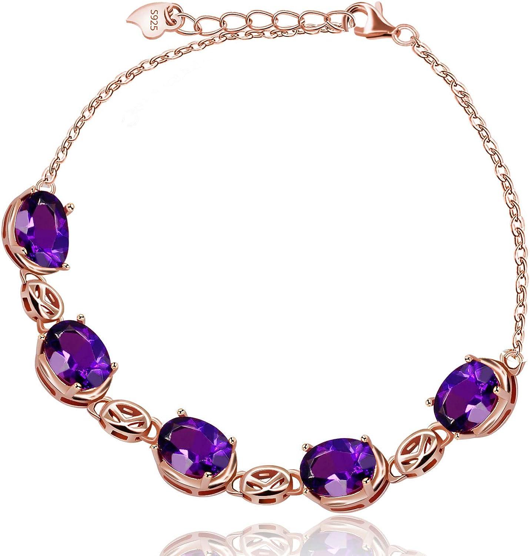Uloveido Pulsera de Plata esterlina 925 para Mujer Pulsera de Cristal de Amatista púrpura Chapado en Oro Rosa para niñas Mujeres Mamá FB057