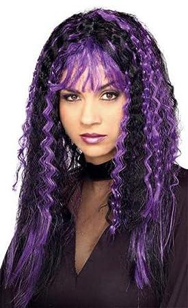 Pelucas Mujeres Largo Púrpura / Negro Flequillo Rizado Alise Corrugado Carnaval Carnaval Halloween