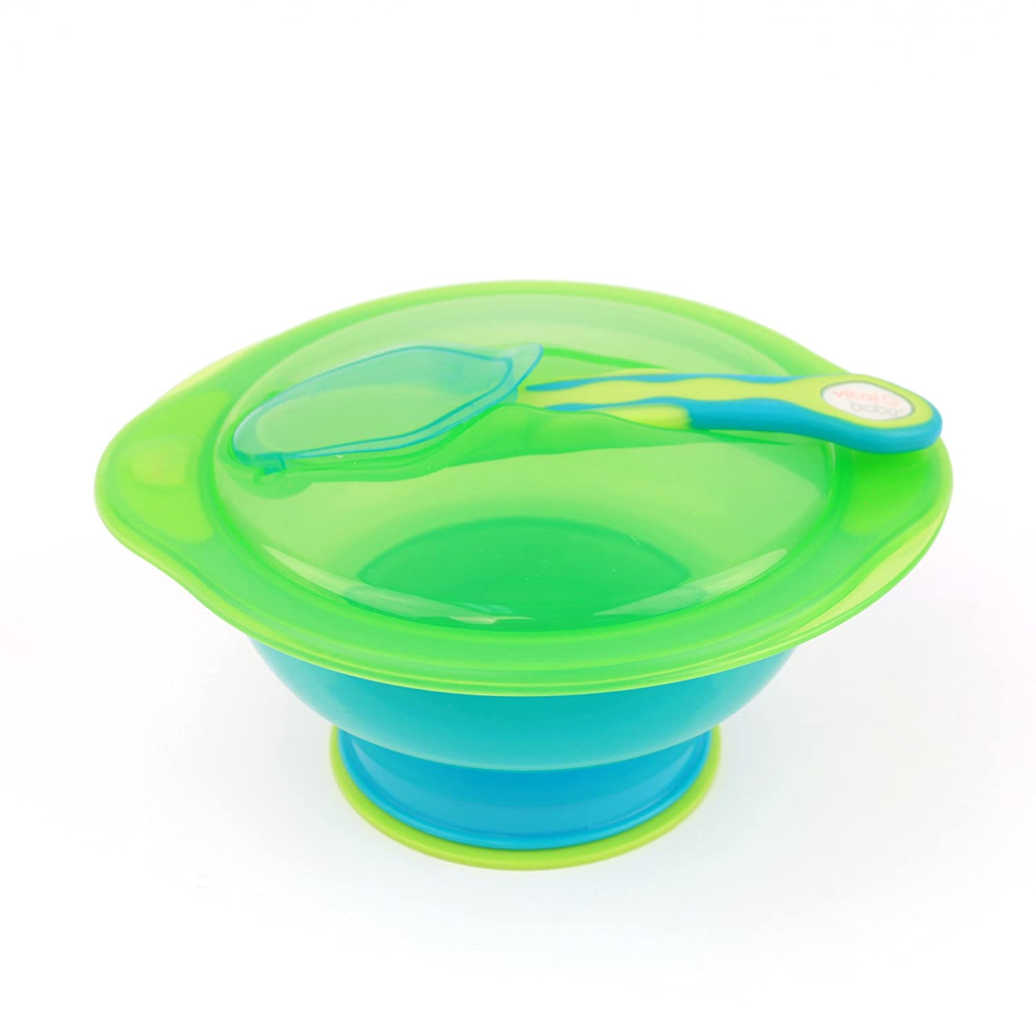 Vital Baby Unbelievabowl Suction Bowl with Lid & Spoon, Blue 43037