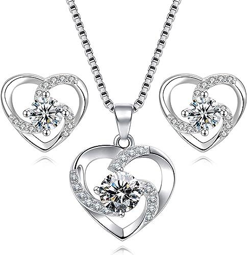 Herz Kette Ohrringe Ohrstecker Silber 925 er Halskette Anhänger für Frauen Damen