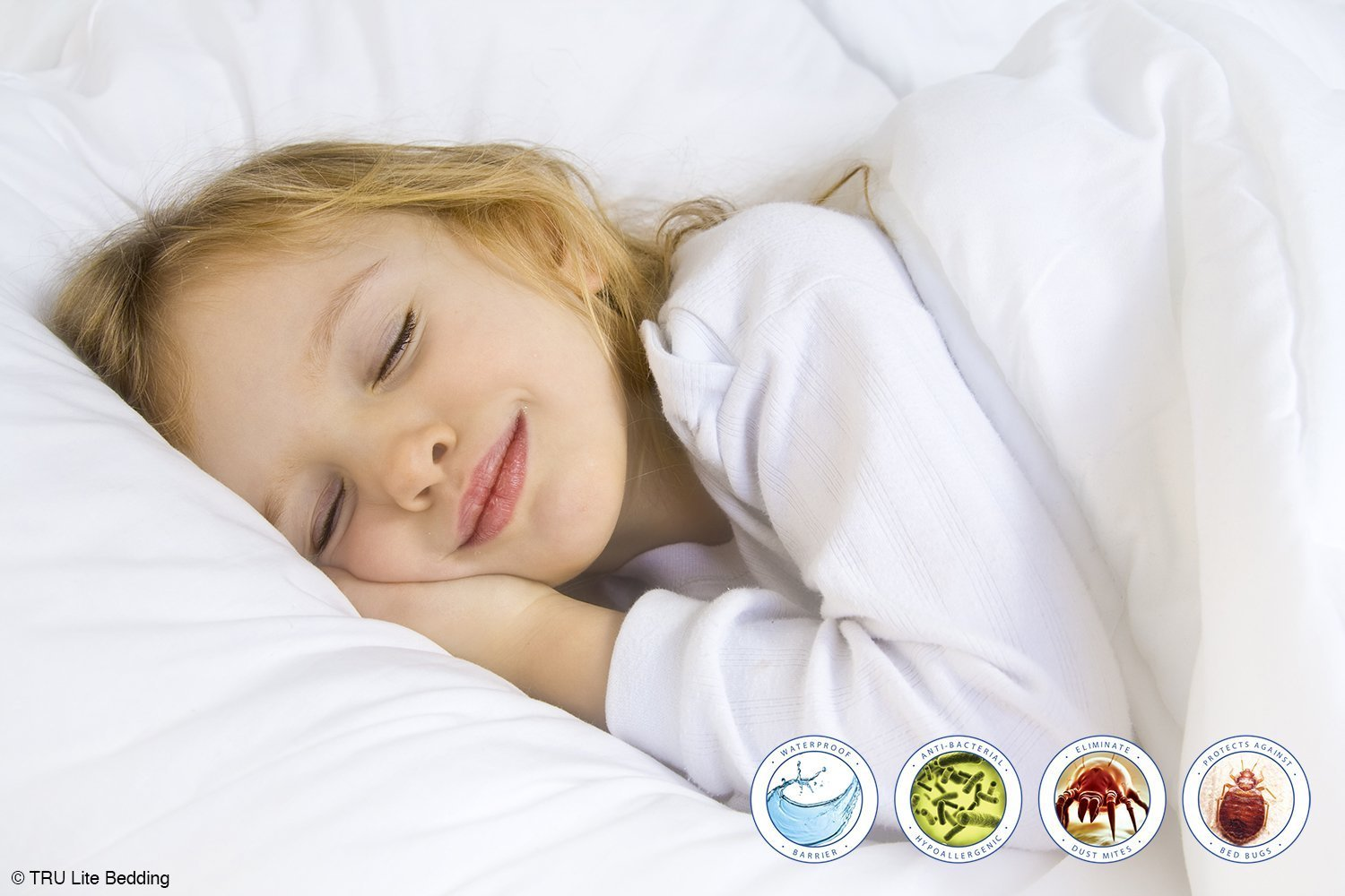 TRU Lite Bedding Pillow Covers - Dust Mite Pillow Protectors for Allergies- Premium Breathable Terry Cotton -100% Waterproof - Zippered from Bed Bugs - Set of 2 - Toddler Travel Size