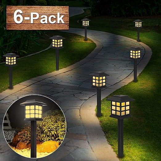 Lámpara solar para jardín, [6 piezas] luces led solares jardín, IP44 Lámpara de camino de paisaje impermeables, farola solar Luz decorativa para exteriores para patio, césped, pasillo: Amazon.es: Jardín