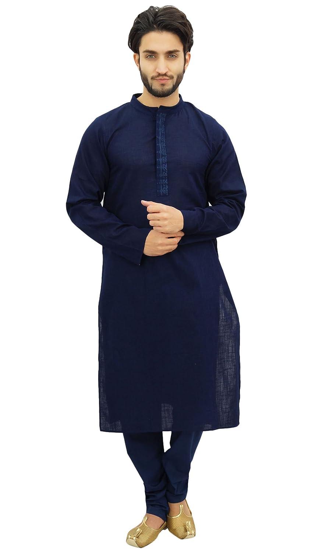 Atasi Chemise en coton Kurta Pyjama Party Wear pour homme Classic Blue