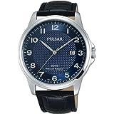 Pulsar Mens cadran bleu bracelet en cuir noir PS9443X1