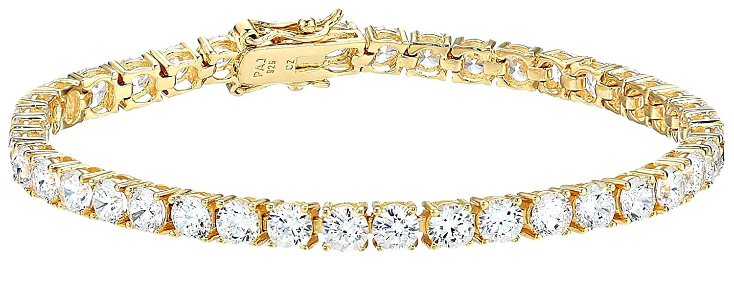 Platinum-Plated Sterling Silver and Cubic Zirconia Tennis Bracelet 7 Amazon Collection X111229600