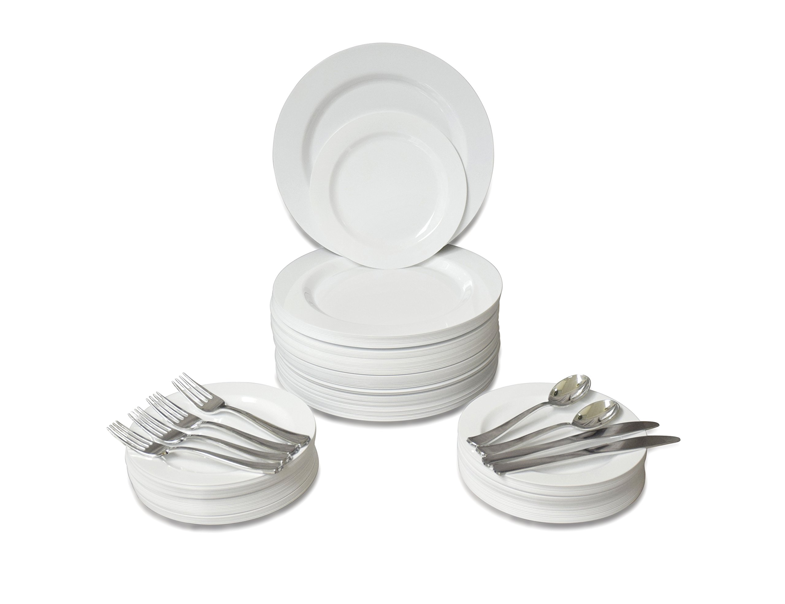 '' OCCASIONS '' 720 PCS / 120 GUEST Wedding Disposable Plastic Plate and Silverware Combo Set , ( Plain White plates, Silver silverware )