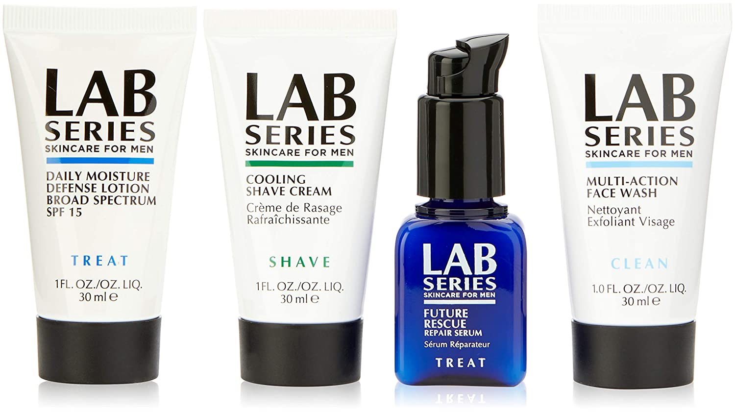 Lab Series Expert Skincare By Lab Series for Men - 4 Pc Kit 1oz Multi Action Face Wash, 1oz Cooling Shave Cream, 1oz Moisture Defense Lotion, 0.5oz Future Rescue Repair Serum, 4count