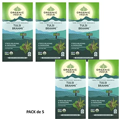 Organic India Infusión Tulsi Brahmi Pack de 5 (Cada paquete ...