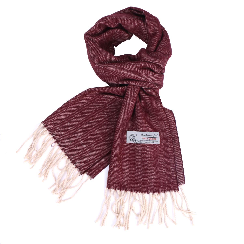 Herringbone Pattern Cashmere Feel Scarf Soft /& Warm Winter Unisex Scarves