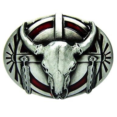 P Prettyia Longhorn Boucle De Ceinture Vintage Western Métal Buffalo Indien  Cowboy Hommes Argent 94d91e18836