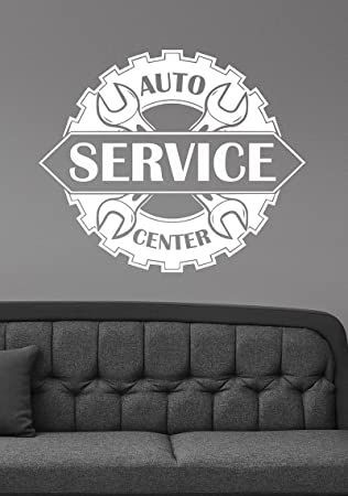 Auto service center logo removable vinyl window sticker custom decal car mechanic station wall art decorations