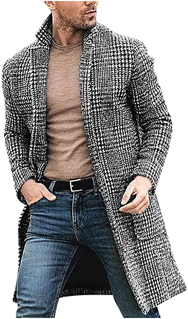 Canrulo Men Trench Coat Wool Slim Fit Notched Collar Overcoat Single Breasted Long Pea Coat Jacket