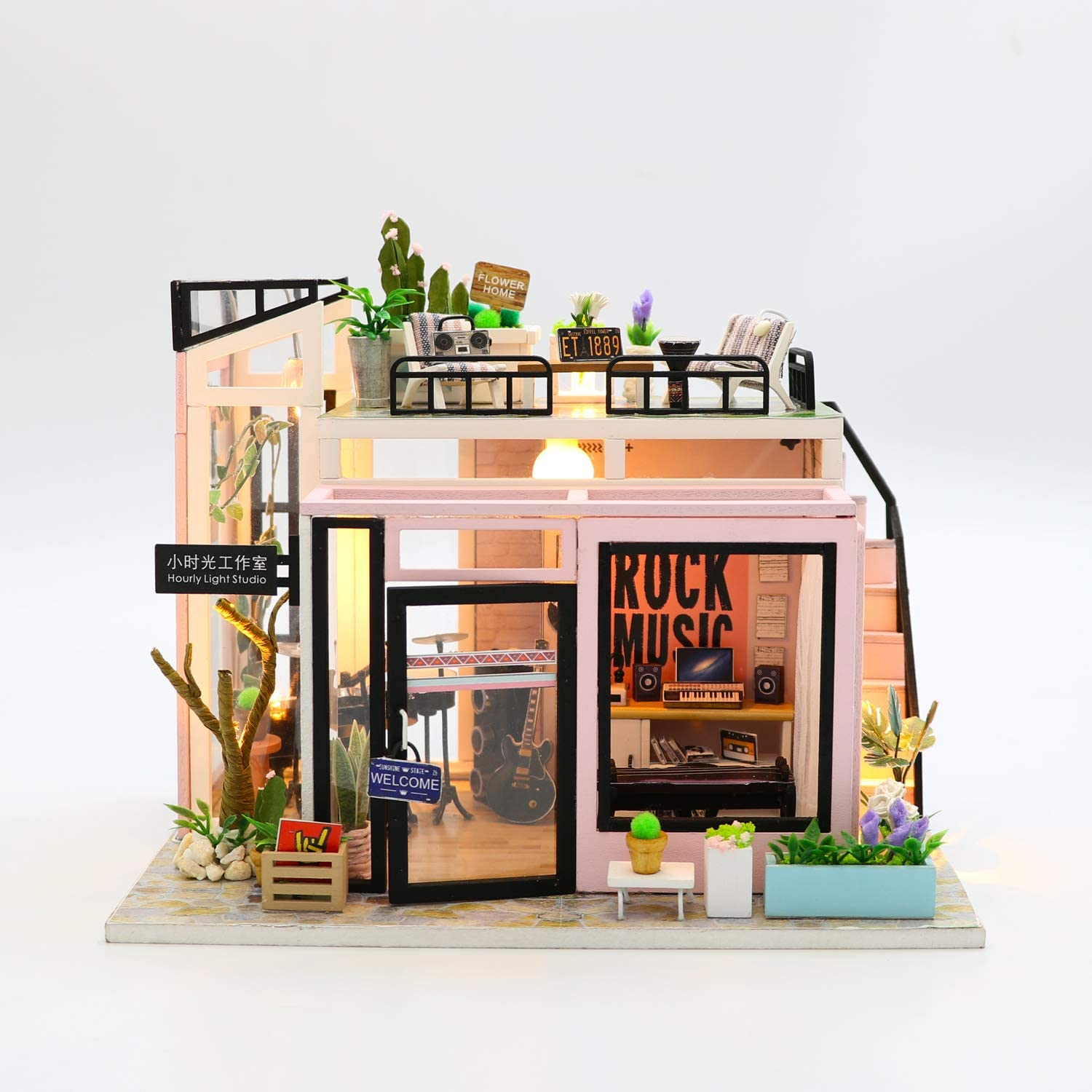 PLC DIY Miniature Dollhouse Kit Tiny Furniture Music Studio with Music Movement Best Gift for Adults and Teens with LED 1:24 Scale with Green Plants and Instruments Building Kit