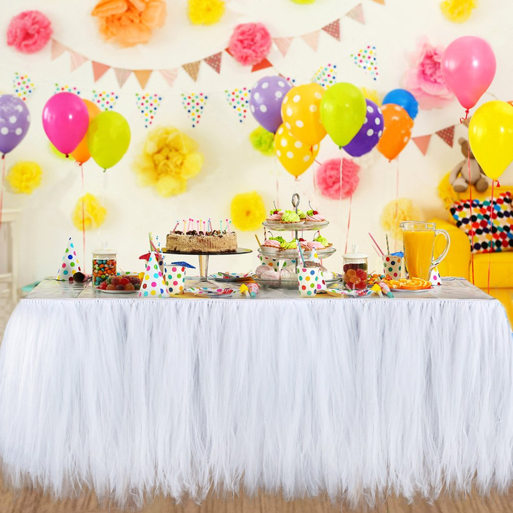 Aytai TUTU Table Skirt Tulle Tableware 100 x 80CM Wonderland Skirting Romantic for Wedding Christmas Party Baby Shower Birthday Cake Table Girl Princess Decoration(1, White) by Aytai (Image #6)
