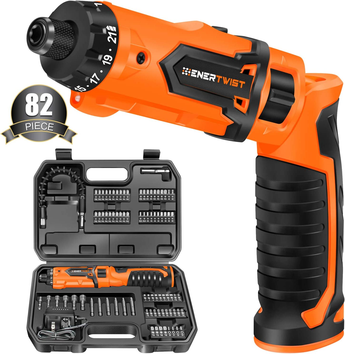 Enertwist Cordless Electric Screwdriver With 82 Accessory Kit