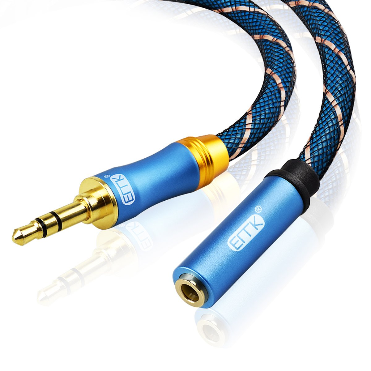 EMK 3.5mm Aux Audio Cord Nylon Braided Aux Cord for Stereo Jack Cord for Phones, Headphones, Speakers, Tablets, PCs, MP3 Players and more-blue (10Ft/3Meters, Male to Female 3.5mm Aux Cord)