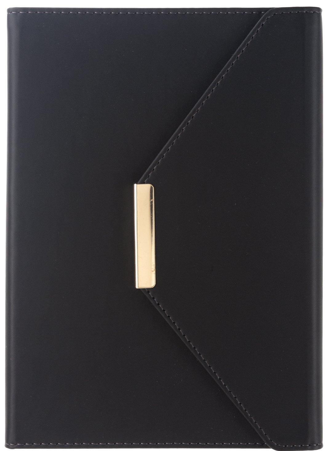 Eccolo Designer Black Gold Bar Hardcover Notebook, 6x8'', Magnetic Closure, Acid-free Lined Sheets