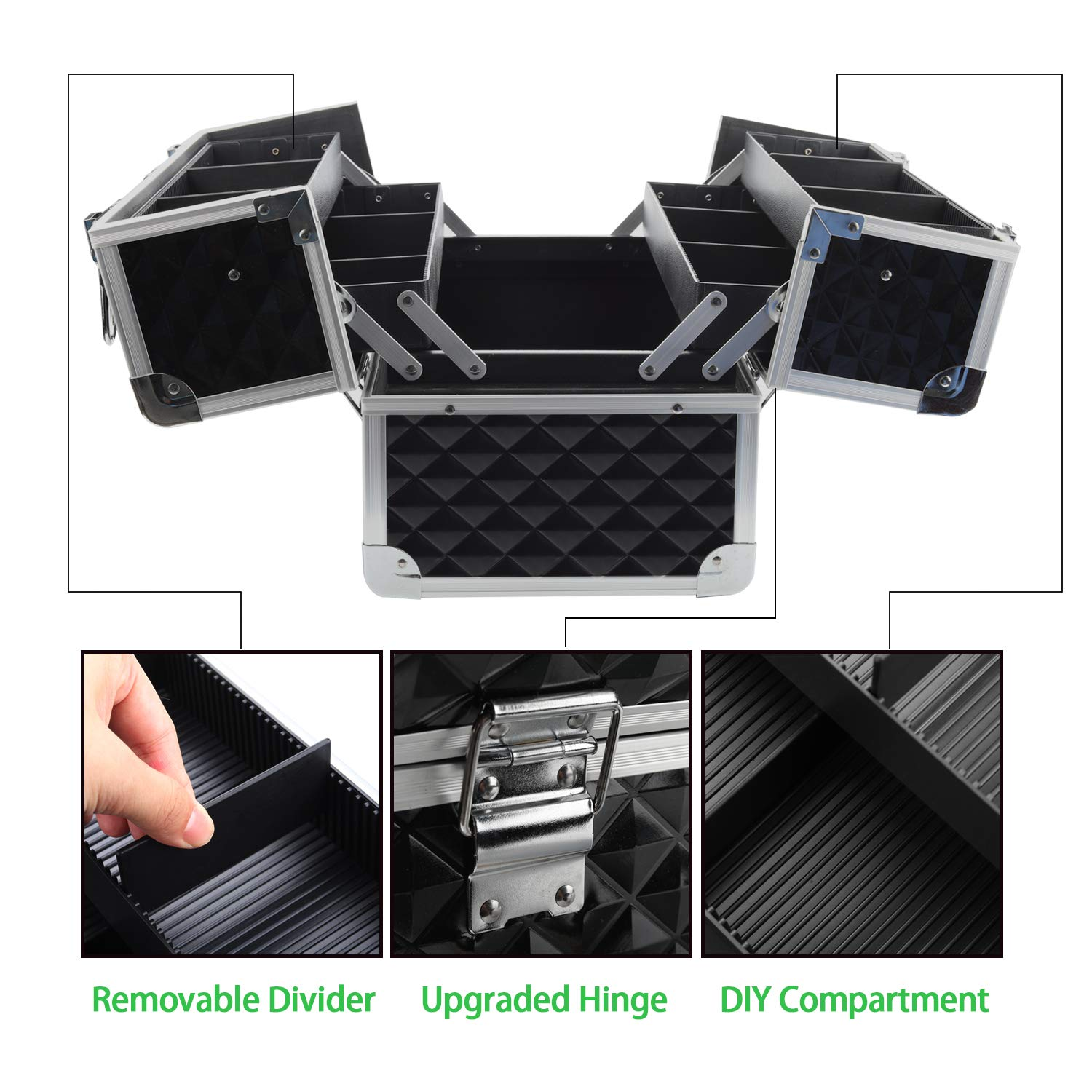 220212637915 Makeup Train Cases Cosmetic case with 4 Automatic Open Trays Inside  Adjustable Divider,Makeup...