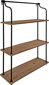 Kate and Laurel Walters Wood and Metal 3-Tier Shelving, 21