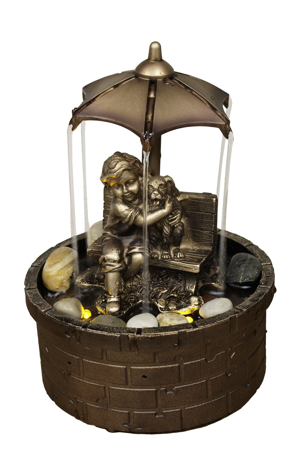 Natures Mark 8'' H Boy and Dog Rainy Day LED Fountain with Adaptor
