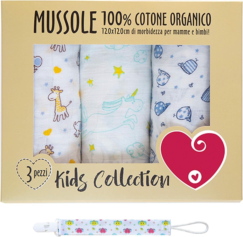Muselina de algodón suave y orgánico para bebés y bebés. Ideal como toallas, mantas, sábanas, para cunas de cochecito. 100% hipoalergénica. 120 x 120 cm. Paquete de regalo y portacupetes incluidos.