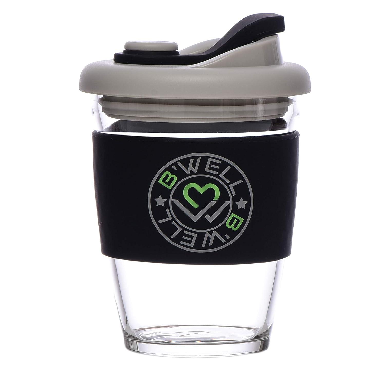 New B'WELL Cup 12 oz - Reusable Coffee Cup - Glass Travel Mug - To Go Coffee Mug - Spill Proof Lid - Tea Travel Mug - Hot and Cold Drinks - Dishwasher and Microwave Safe (Onyx Black)