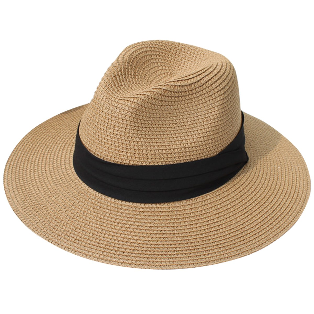Lanzom Women Wide Brim Straw Panama Roll up Hat Fedora Beach Sun Hat UPF50+