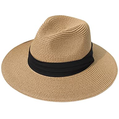5f884fd530031 Lanzom Women Wide Brim Straw Panama Roll up Hat Fedora Beach Sun Hat UPF50+  (Brown)  Amazon.in  Clothing   Accessories