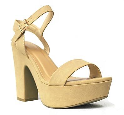 39634d5e240 Bamboo SF Sandbar-51M Women s Fashion One Band Chunky Heel Platform Sandal  with Quarter Strap