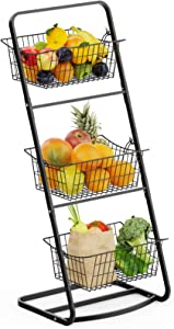 Wire Market Basket Stand, Warmfill 3 Tier Vertical Fruit Basket with Removable Wire Basket for Fruit, Vegetables, Toiletries, Household Items, Metal Hanging Produce Basket for Kitchen, Bathroom, Laundry, Black