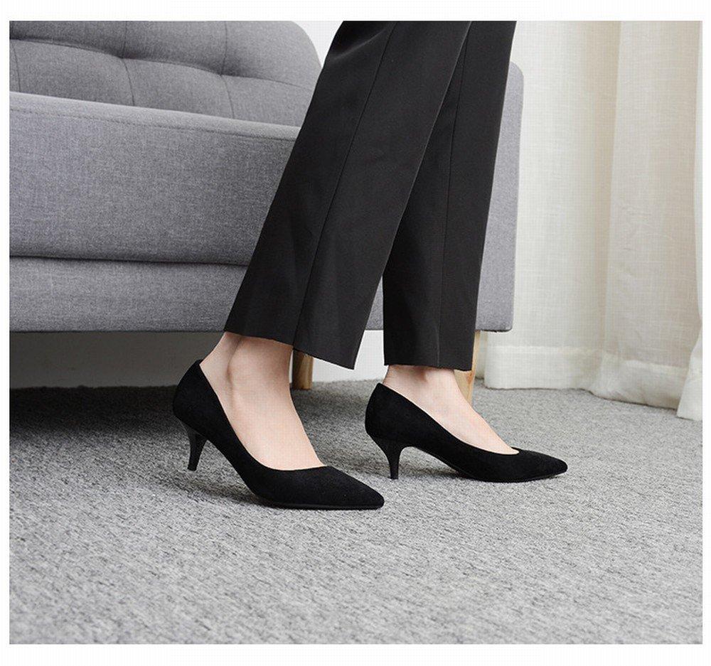 DIDIDD High-Heeled Schuhe Frauen Größe Größe Größe Größe Arbeit Schuhe Weiblich Schwarz Spitz High Heels Weiblich Gut mit,Schwarz,35 - a75995