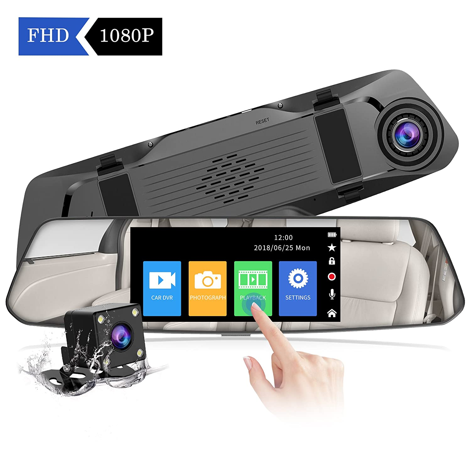 【2018 New Version】CHORTAU Mirror Dash Cam 4.8 Inches Touch Screen Full HD 1080P, Wide Angle Front Camera and Waterproof Rear Camera, Car camera with Emergency Recording, Parking Monitor, Reverse Monitor System, Motion Detection 006