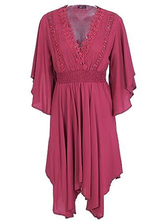 8ed986c0b38 Simplee Women s V Neck Flare Short Sleeve Pleated Asymmetric Summer Midi  Dress Burgundy
