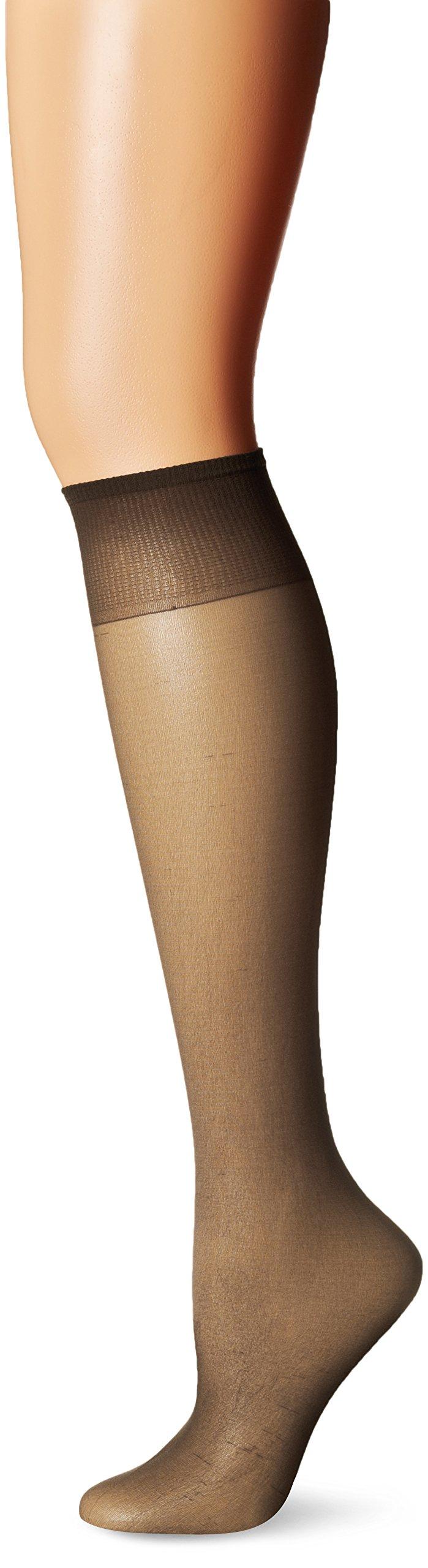 L'eggs Women's Brown Sugar Knee High Sheer Toe Panty Hose, Off Black, One Size