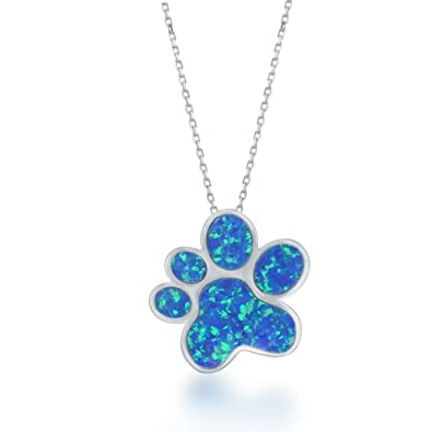Amazon sterling silver created blue opal paw print pendant with sterling silver created blue opal paw print pendant with 18quot aloadofball Images